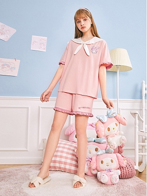 Sanrio Authorized My Melody  Pajamas Navy Collar Short Sleeves Top with Tie / Shorts by LEDiN