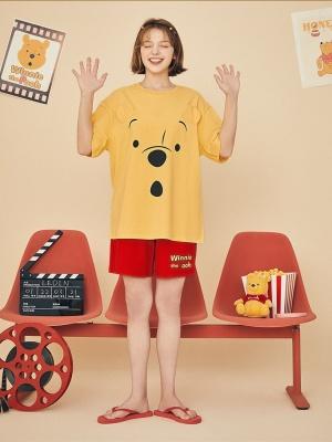 Disney Authorized Winnie the Pooh Pajamas Round Neckline Short Sleeves Top / Shorts by LEDiN