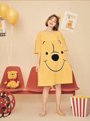 Disney Authorized Winnie the Pooh Round Neckline Short Sleeves Nightgown by LEDiN