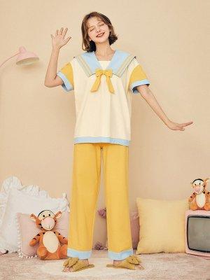 Disney Authorized Tigger / Piglet Pajamas Navy Collar Short Sleeves Top / Pants by LEDiN