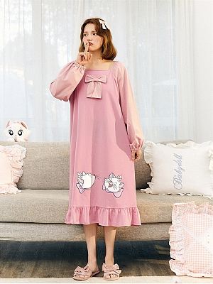 Disney Authorized Marie Square Neckline Long Sleeves Nightgown by LEDiN