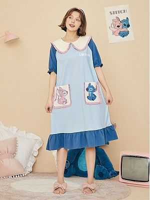 Disney Authorized Stitch Peter Pan Collar Short Sleeves Nightgown by LEDiN
