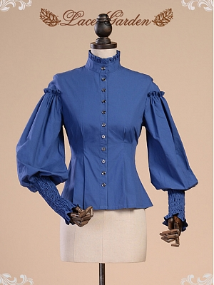 Palace High Neck Long Leg-of-mutton Sleeves Vintage Shirt by Lace Garden