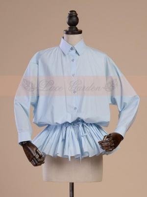 Light Blue Flounce Hem Long Sleeves Vintage Shirt by Lace Garden