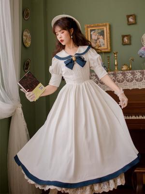Water Ice Moon Vintage Peter Pan Collar Bowknot Front Short Sleeves Long Dress by Li