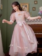 Vintage Round Neckline Short Puff Sleeves Bowknot Decorative Long Dress by Li