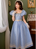 Vintage Square Neckline Short Puff Sleeves Long Dress by Li