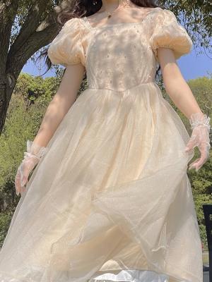 Vintage Champagne Square Neckline Short Puff Sleeves Pearl Mesh Long Dress by Li