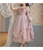Vintage Pink Round Neckline Short Puff Sleeves Bowknot Decorative Long Dress by Li