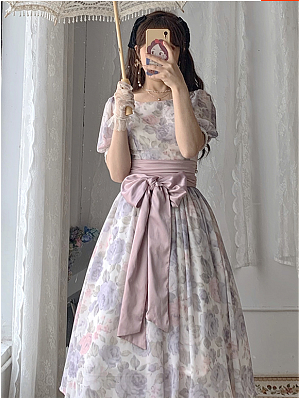Vintage Round Neckline Short Puff Sleeves Print Long Dress by Li