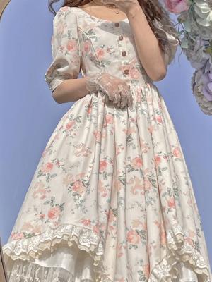 Vintage Short Puff Sleeves Floral Print Irregular Dress by Li