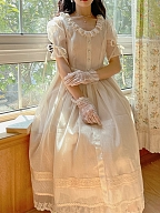 Vintage Champagne Gypsophila Round Neckline Short Sleeves Dress by Li