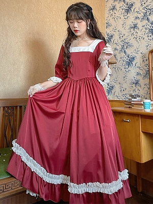 Vintage Square Neckline 3/4 Sleeves Bowknot Back Dress by Li