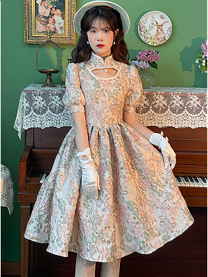 Vintage Stand Collar Short Puff Sleeves Three-dimensional Relief Dress by Li