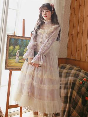 Vintage Pink and Purple High Neck Long Sleeves Print Long Dress by Li