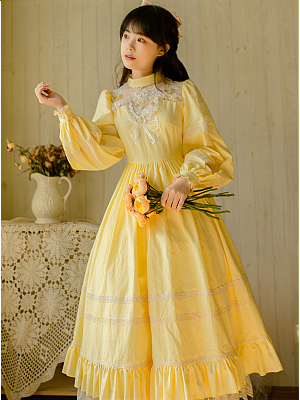 Vintage Yellow Long Sleeves Embroidered Long Dress by Li