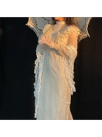 Vintage Champagne Long Sleeves Double Slit Lace Dress / Shawl by Li