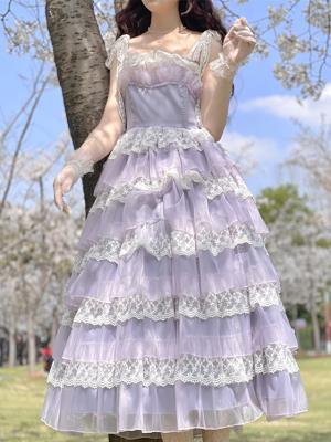 Vintage Purple Tiered Skirt Lace Cami Dress by Li