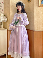 Vintage Pink and Purple Square Neckline Long Sleeves Dress by Li