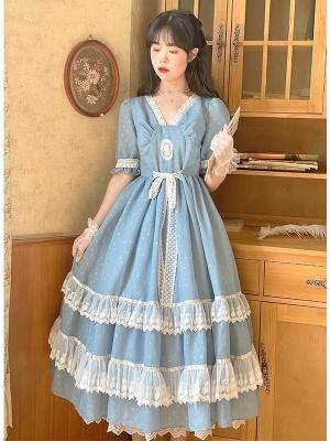 Vintage Blue V-neck Short Sleeves Wave Point Long Dress by Li