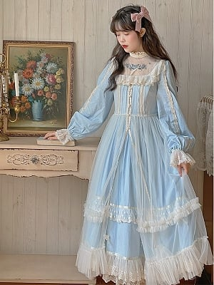 Vintage Light Blue Long Sleeves Embroidered Long Dress by Li