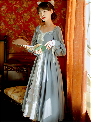 Vintage Round Neckline Long Sleeves Bowknot Front Long Dress by Li