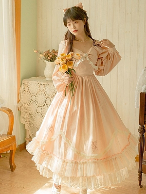 Vintage Pink Long Sleeves Emroidered Lolita Long Dress by Li