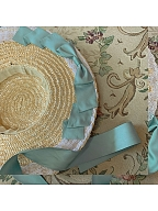 Flower Mist in the Clouds Vintage Long Dress Matching Straw Hat by Li