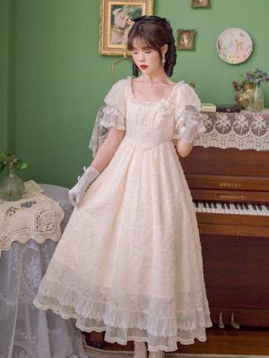 Lilia Garden Vintage Square Neckline Short Sleeves Long Dress by Li