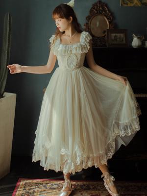 Vintage Ruffled Square Neckline Sleeveless Lace Long Dress by Li