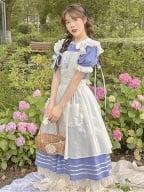 Dream Alice Peter Pan Collar Short Puff Skeeves Dress / Apron Full Set by Li