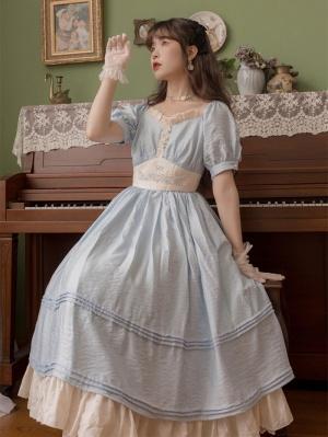 Iris Ukiyoe Vintage V-neck Short Puff Sleeves Embroidered Long Dress by Li