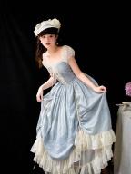 Vintage Square Neckline Short Sleeves Drawstring Long Dress by Li