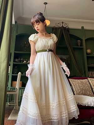 Poems by katherine Vintage Square Neckline Short Puff Sleeves Long Dress by Li