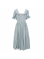 Song of the Other Shore Vintage Peter Pan Collar Short Sleeves Embroidered Long Dress by Li