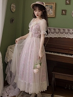 Blenheim Bouquet Vintage V-neck Short Sleeves Fake Two-pieces Long Dress by Li