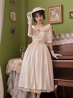 Round of Roses Vintage Off-the-shoulder Neckline Short Sleeves Long Dress by Li