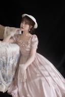 Church Under the Moon Vintage Square Neckline Short Sleeves Satin Long Dress by Li
