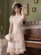 Wind Butterfly Vintage Round Neckline Sleeveless Lace Qi Dress / Cropped Jacket Set by Li