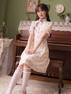 Little Flower Shadow High Neck Short Sleeves Print Dress by Li