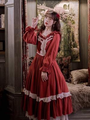 Rose Knot Vintage Square Neckline Long Sleeves Long Dress
