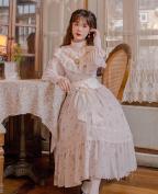 Little Du Li Vintage Stand Collar Long Sleeves Long Dress