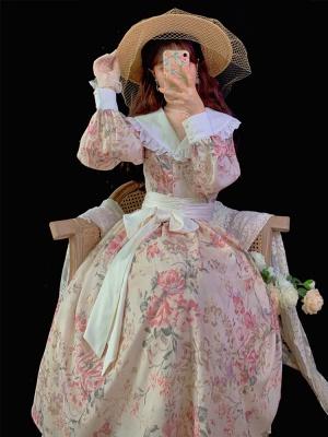 Sunset Rose Vintage Turndown Collar Long Sleeves Print Long Dress
