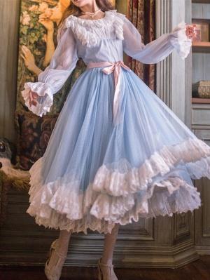 Ballet Actress Vintage Round Neckline Long Sleeves Long Dress