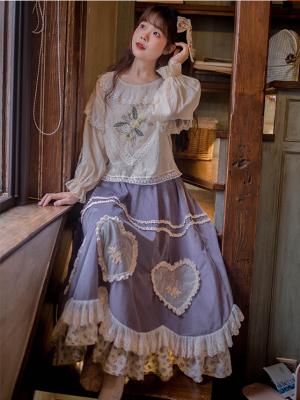 Vintage Elastic Waist Heart-shaped Reversible Corduroy Long Skirt