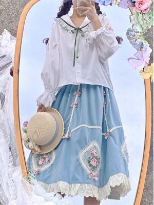 Laurel Maiden Turndown Collar Long Sleeves Embroidered Shirt