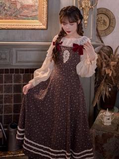 Sicilian Vespers Vintgae Square Neckline Floral Print Overall Dress