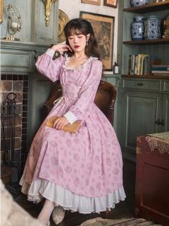 Rose Manor Vintgae Square Neckline Long Sleeves Print Dress