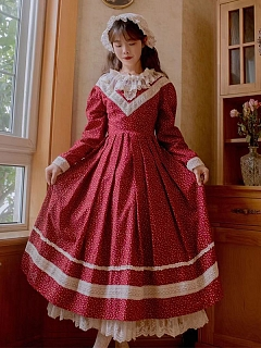 Camellia Nocturne Vintage Round Neckline Long Sleeves Floral Print Dress