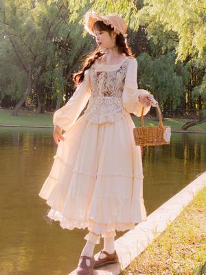 Osmanthus Candy Vintage Square Neckline Long Sleeves Dress and Embroidered Vest Set